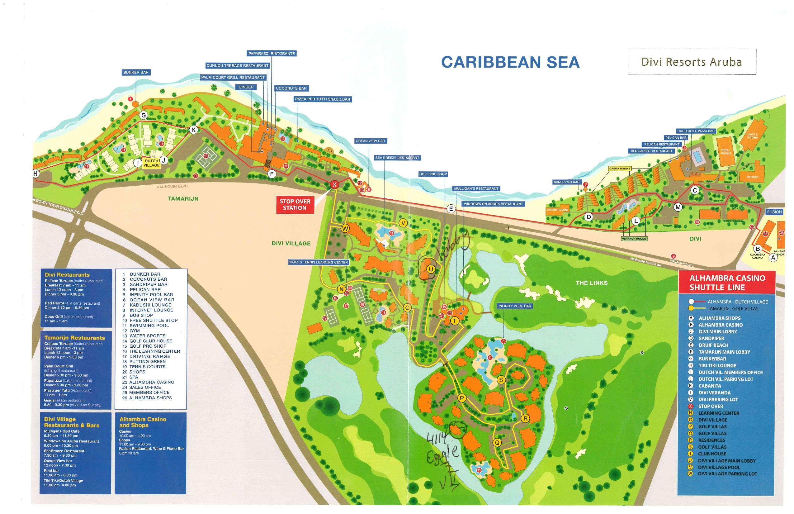 Divi Golf And Beach Resort Aruba Map