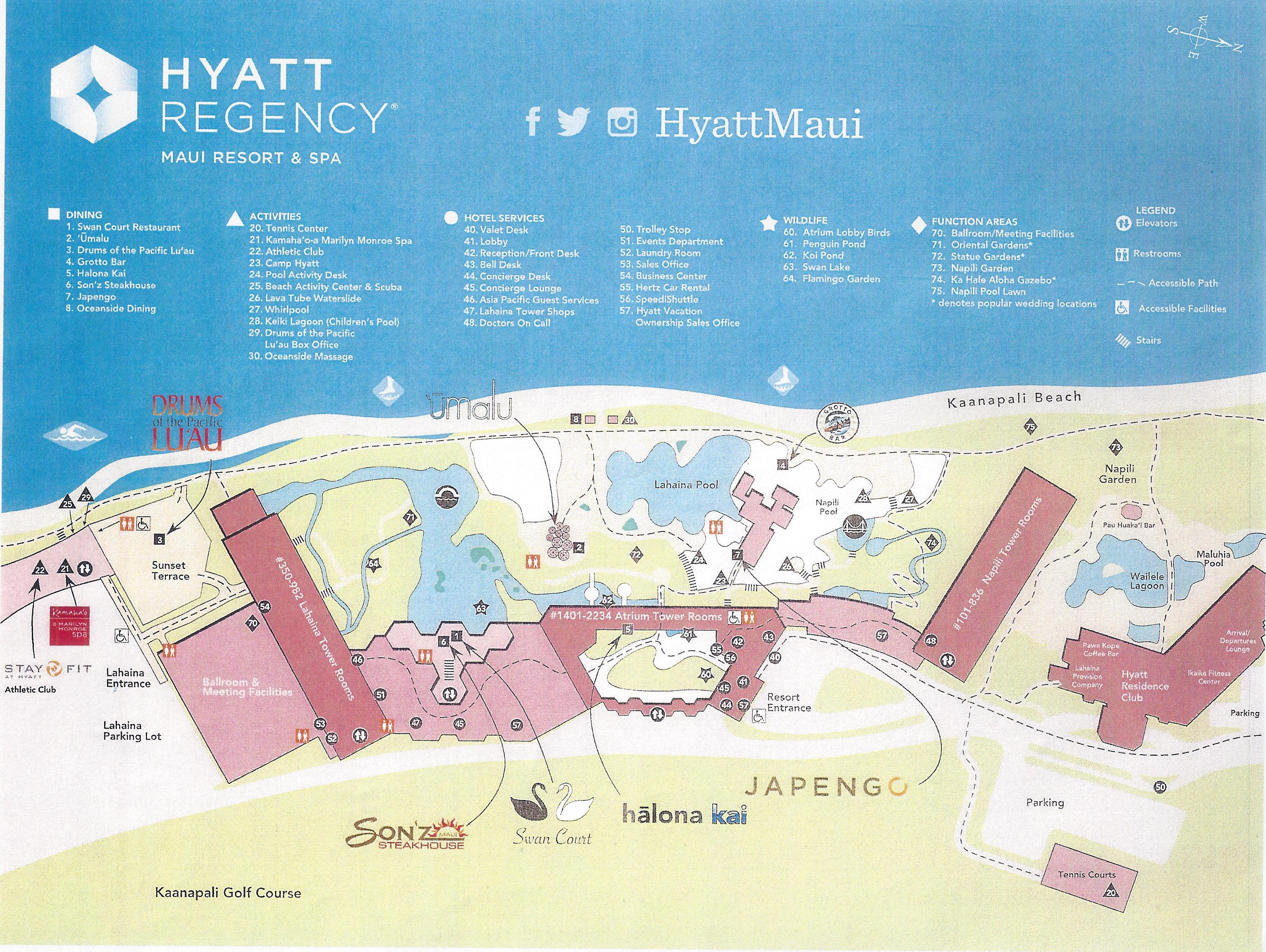 TUG Hyatt Regency Maui Resort Spa – Maui Tourist Attractions Map